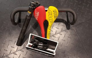 Saddle, stem, handlebars and seatpost.