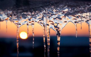 Icicles with sun rising behind them.